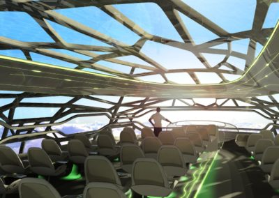 The 'Vitalising Zone' at the front, an intelligent cabin membrane, can become transparent to give passengers panoramic 360 degree views.