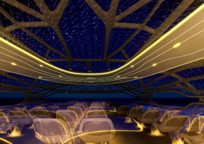 Passengers  can sit back and enjoy the night sky due to bionic structure and interactive membrane.