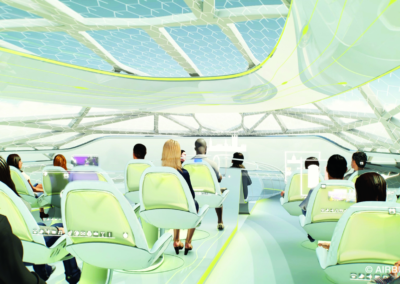 Instead of traditional cabin classes, Airbus sees the interior being divided into a number of zones.
